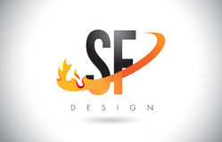 SF S F Letter Logo with Fire Flames Design and Orange Swoosh. Stock Photo