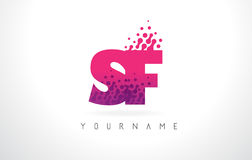 SF S F Letter Logo with Pink Purple Color and Particles Dots Des Royalty Free Stock Images