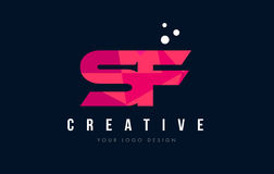 SF S F Letter Logo with Purple Low Poly Pink Triangles Concept Royalty Free Stock Photography