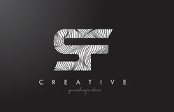 SF S F Letter Logo with Zebra Lines Texture Design Vector. Royalty Free Stock Image