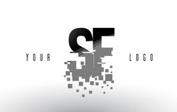 SF S F Pixel Letter Logo with Digital Shattered Black Squares Stock Images