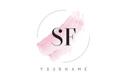 SF S F Watercolor Letter Logo Design with Circular Brush Pattern Stock Photos