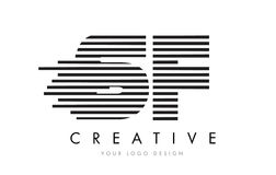SF S F Zebra Letter Logo Design with Black and White Stripes Royalty Free Stock Photos