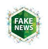 Sfałszowanej wiadomości rośliien wzoru zieleni sześciokąta kwiecisty guzik royalty ilustracja