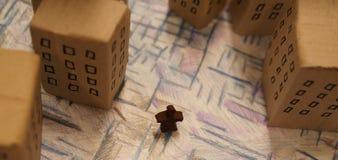 Sfałszowany miasto szczegół od wierzchołka Zdjęcie Stock