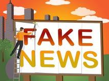 Sfałszowany wiadomość billboard Znaczy błędnej informaci 3d ilustrację ilustracji