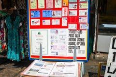 Sfałszowany ID i dokumentu sklep, Bangkok Obrazy Royalty Free