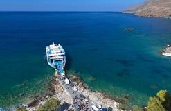 Sfakia harbor at Crete island Stock Images