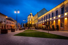 Sfantu Gheorghe / Sepsiszentgyorgy / Saint George city central. Cityscape in Sfântu Gheorghe / Sepsiszentgyorgy / Saint George city after sunset in blue hour Royalty Free Stock Photo