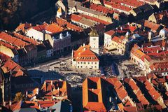 Sfatului square Brasov, aerial view Royalty Free Stock Images