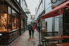 Sfeer en typische architectuur in de Stegenbuurt, in Brighton, het UK stock afbeeldingen