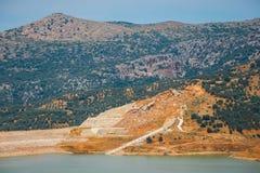 Sfendili è un villaggio abbandonato e incavato Fotografia Stock