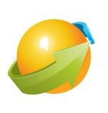 sfera 3d con il disegno delle frecce Fotografia Stock Libera da Diritti