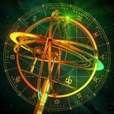 Sfera armillare con i simboli dello zodiaco sopra fondo verde Immagine Stock