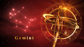 Sfera armillare e costellazione Gemini Over Red Background Fotografie Stock