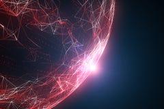 Sfera artistica della rete colorata rosso con luce solare Immagine Stock