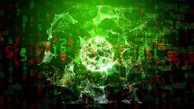 Sfera astratta della rete globale con i numeri, i triangoli ed i punti commoventi illustrazione di stock
