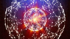 Sfera astratta della rete globale con i numeri, le linee ed i punti commoventi illustrazione vettoriale