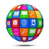 Sfera astratta di APP con le icone di applicazione Immagini Stock