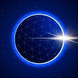 Sfera astratta nello spazio con l'eclissi Fotografia Stock