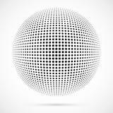 Sfera bianca del semitono di vettore 3D Fondo sferico punteggiato marchio Fotografie Stock