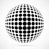 Sfera bianca del semitono di vettore 3D Fondo sferico punteggiato marchio Fotografie Stock Libere da Diritti