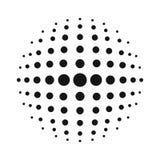 Sfera bianca del semitono di vettore 3D Fondo sferico punteggiato Modello di logo con ombra Punti del cerchio isolati sui precede royalty illustrazione gratis