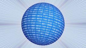 Sfera blu di codice binario che gira sopra il fondo dei raggi luminosi illustrazione vettoriale