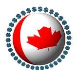 Sfera canadese della bandierina con i dollari Immagini Stock Libere da Diritti