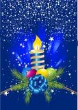 Sfera, candela e perno di natale illustrazione vettoriale