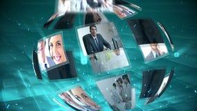 Sfera commovente delle clip delle Telecomunicazioni e di call-center stock footage