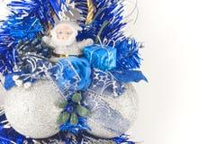Sfera d'argento di christamas con il Babbo Natale Fotografia Stock