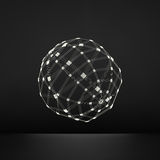 sfera 3D Collegamenti digitali globali Concetto di tecnologia Illustrazione di vettore Oggetto di Wireframe con le linee ed i pun royalty illustrazione gratis