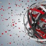 sfera 3d degli anelli multicolori in nuvola dalle gocce multicolori Fotografie Stock