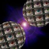 Sfera degli schermi con degli gli occhi colorati multi Immagine Stock