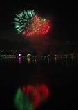 Sfera dei fuochi d'artificio del ` s EVE del nuovo anno Fotografia Stock