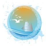 Sfera del Aqua con il paesaggio del mare Immagini Stock Libere da Diritti