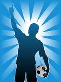 Sfera del calciatore di gioco del calcio Fotografia Stock Libera da Diritti