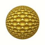 Sfera del metallo 3D dell'oro con il modello dei cerchi isolato su bianco Immagini Stock Libere da Diritti