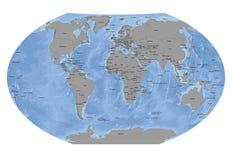 Sfera del mondo con il fondo dei paesi solidi - oceano fotografie stock