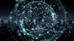 Sfera del sistema dei collegamenti e rappresentazione di scambi di dati 3D Immagine Stock Libera da Diritti