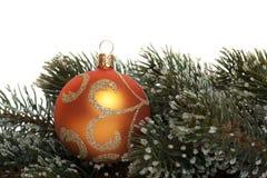 Sfera dell'albero di Natale con la filiale dell'abete Fotografia Stock Libera da Diritti