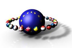 sfera della bandierina 3d di Unione Europea Fotografia Stock Libera da Diritti