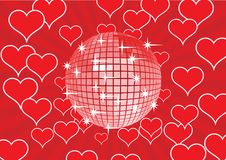 Sfera della discoteca su una priorità bassa rossa. Fotografia Stock Libera da Diritti