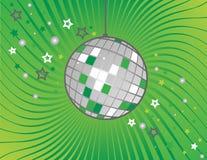 Sfera della discoteca su verde Fotografia Stock Libera da Diritti