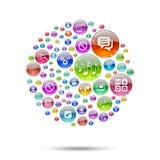 Sfera della siluetta che consiste delle icone dei apps Fotografia Stock Libera da Diritti