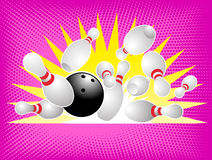 Sfera di bowling che si arresta nei perni Fotografia Stock Libera da Diritti