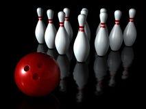 Sfera di bowling con lo sport del perno Fotografie Stock Libere da Diritti