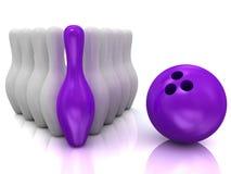Sfera di bowling e skittles Fotografia Stock Libera da Diritti
