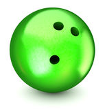 Sfera di bowling verde Fotografia Stock Libera da Diritti